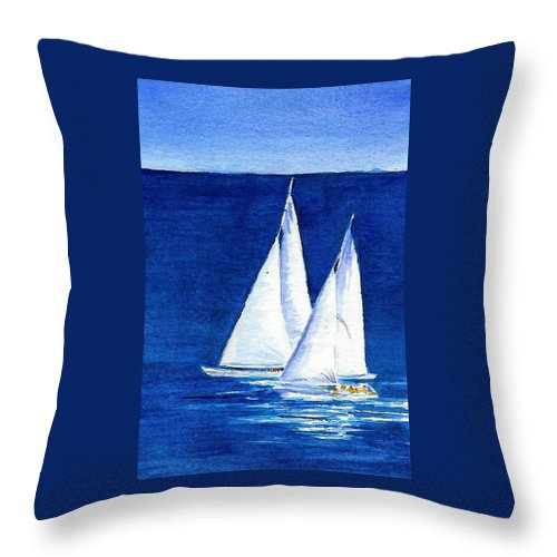 Sailboats Throw Pillow featuring the painting Sailing by Anne Marie Brown