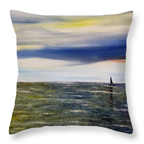 Sailboat Throw Pillow featuring the painting Sailing At Dusk by Marilyn McNish