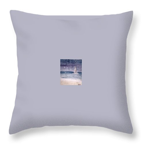 Watercolor Seascape Sailing Boat Landscape Painting Throw Pillow featuring the painting Sailing At Night Nautical Painting Print by Derek Mccrea