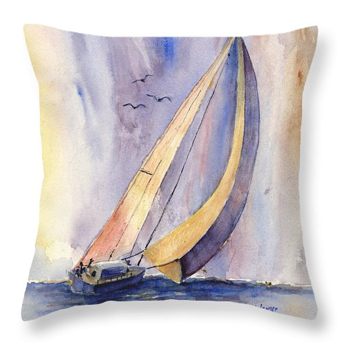 Sailboat Throw Pillow featuring the painting Sailing At Sunset by Arline Wagner
