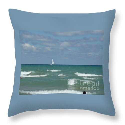 Scenery Throw Pillow featuring the photograph Sailing Away On The Lake by Barb Montanye Meseroll