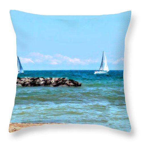 Lake Erie Throw Pillow featuring the photograph Sailing Days On Lake Erie Panorama by Randy Steele
