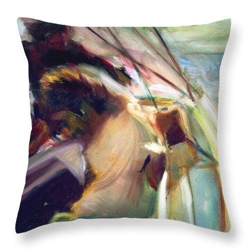 Dornberg Throw Pillow featuring the painting Sailing Hard To Wind by Bob Dornberg