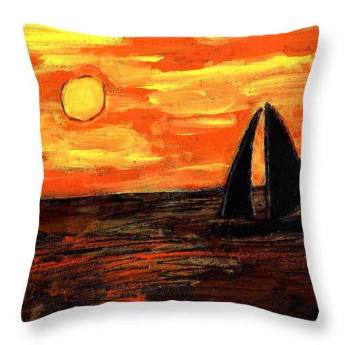 Sailing Throw Pillow featuring the painting Sailing Home At Sunset by Wayne Potrafka