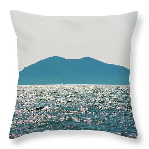 Turkish Aegean Throw Pillow featuring the photograph Sailing In The Distance by Sun Travels