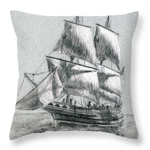 Seascape Throw Pillow featuring the drawing Sailing by Michael Beckett