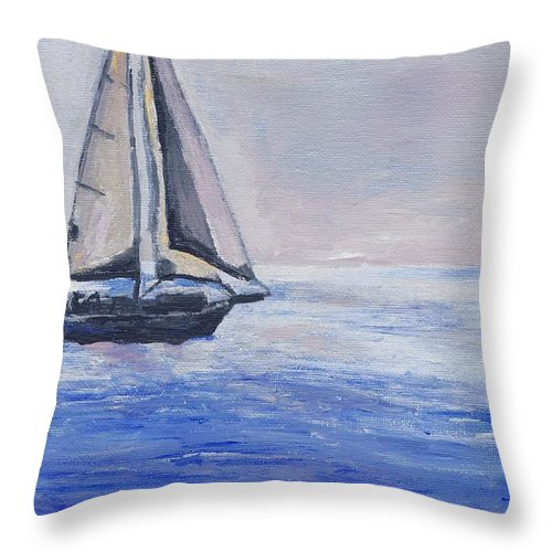 Sunset Throw Pillow featuring the painting Sailing Off Cape May Point by Eric Schiabor