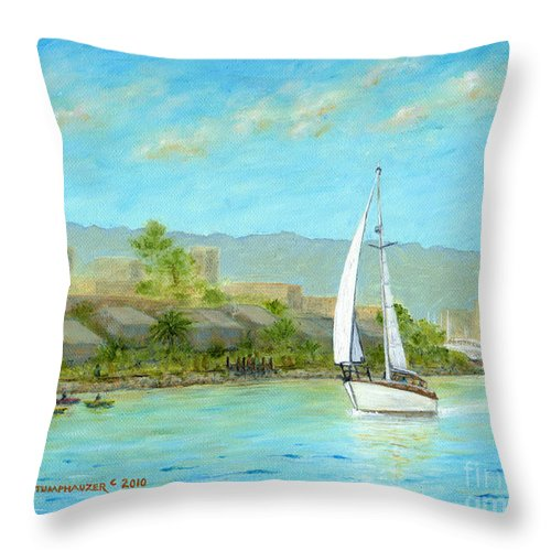 Sailing Throw Pillow featuring the painting Sailing Out To Sea by Jerome Stumphauzer