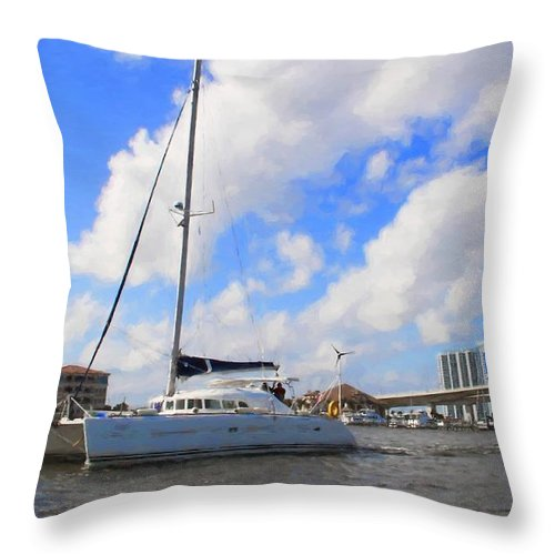 Alicegipsonphotographs Throw Pillow featuring the photograph Sailing Past The Marina Grande by Alice Gipson