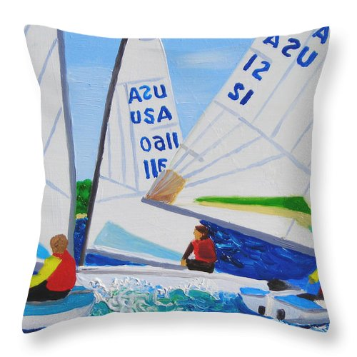 Sailboats Throw Pillow featuring the painting Sailing Regatta by Michael Lee