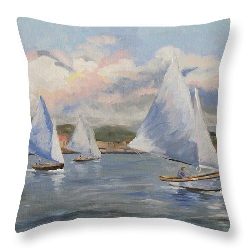 Seascape Throw Pillow featuring the painting Sailing Sunday by Jay Johnson