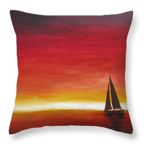 Sunset Throw Pillow featuring the painting Sailors Delight by Karen Stark