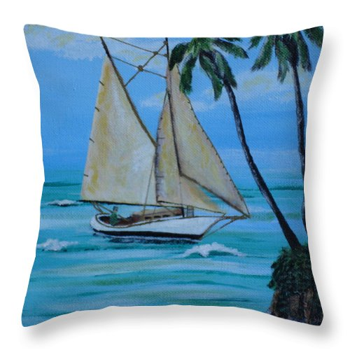 Sailboat Throw Pillow featuring the painting Sailor's Dream by Susan Kubes
