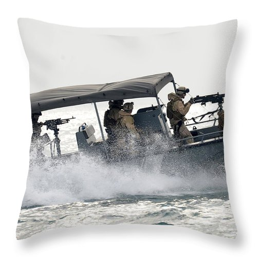 Crew Throw Pillow featuring the photograph Sailors Patrol Kuwait Naval Bases by Stocktrek Images