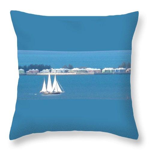 Sailboat Throw Pillow featuring the photograph Sails In Bermuda by Ian MacDonald