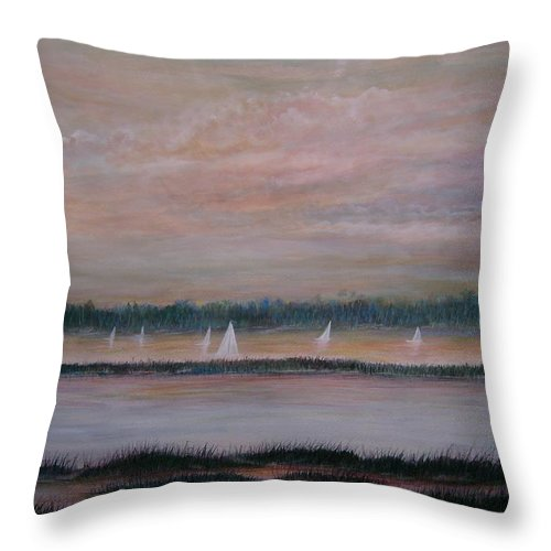 Sailboats; Marsh; Sunset Throw Pillow featuring the painting Sails in the sunset by Ben Kiger