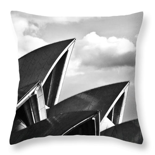 Sydney Opera House Monochrome Black And White Icon Throw Pillow featuring the photograph Sails Of Sydney Opera House by Sheila Smart Fine Art Photography