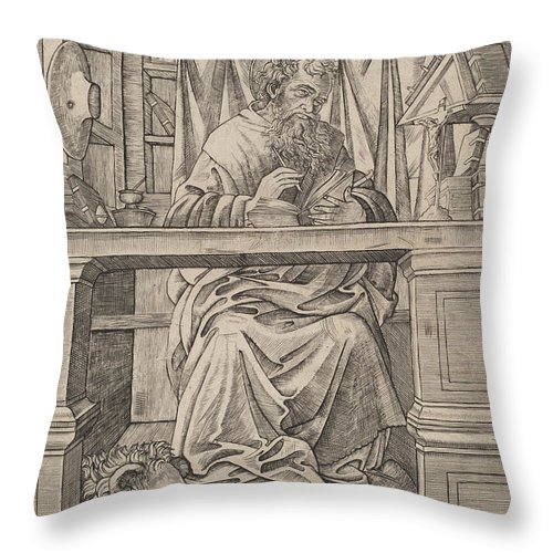 Throw Pillow featuring the drawing Saint Jerome In His Study by Giovanni Antonio Da Brescia