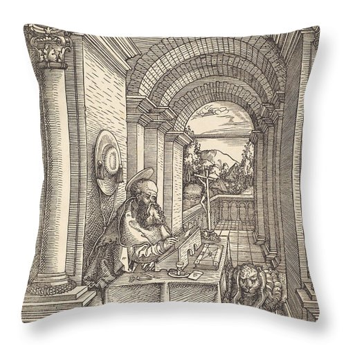 Throw Pillow featuring the drawing Saint Jerome Writing by Hans Springinklee