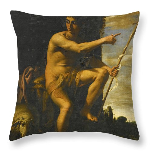 Giovanni Baglione Throw Pillow featuring the painting Saint John The Baptist In The Wilderness by Giovanni Baglione