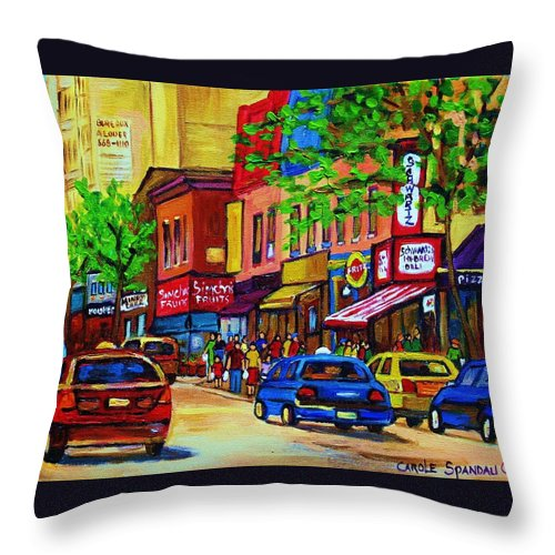 Cityscape Throw Pillow featuring the painting Saint Lawrence Street by Carole Spandau