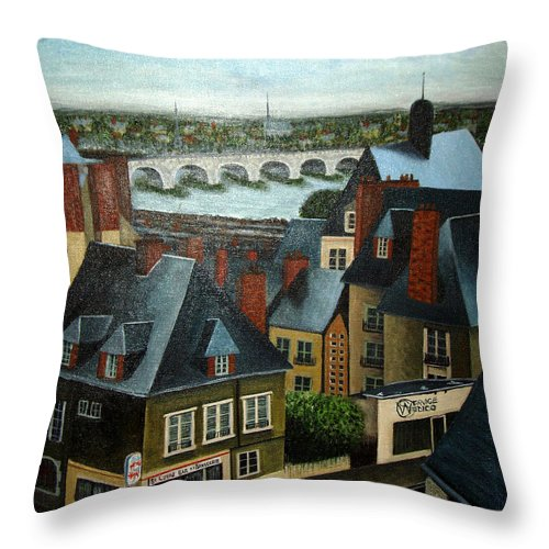 Acrylic Throw Pillow featuring the painting Saint Lubin Bar In Lyon France by Nancy Mueller