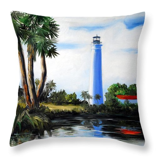 Light House Florida Saint Marks River Ocean Sea Palms Seacapes Throw Pillow featuring the painting Saint Marks River Light House by Phil Burton