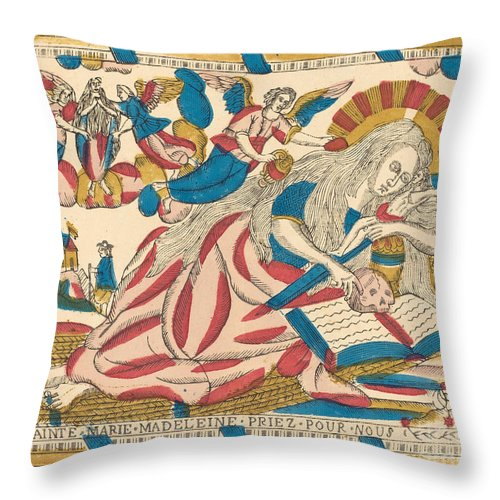 Throw Pillow featuring the drawing Saint Mary Magdalene Pray For Us by French 19th Century