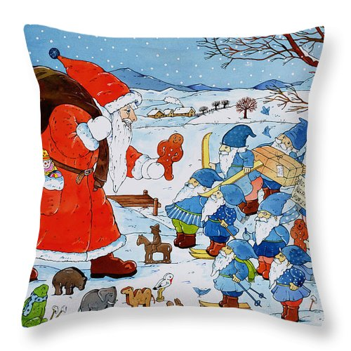 St. Nikolaus (w/c On Paper) By Christian Kaempf (contemporary Artist) Throw Pillow featuring the painting Saint Nicholas by Christian Kaempf