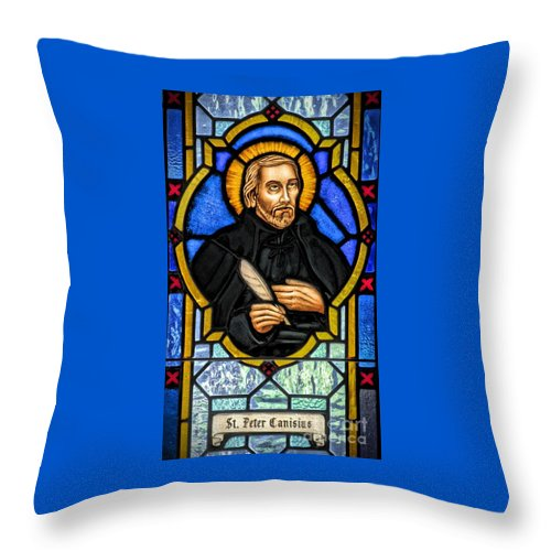 Stained Glass Window Throw Pillow featuring the photograph Saint Peter Canisius by Elizabeth Duggan