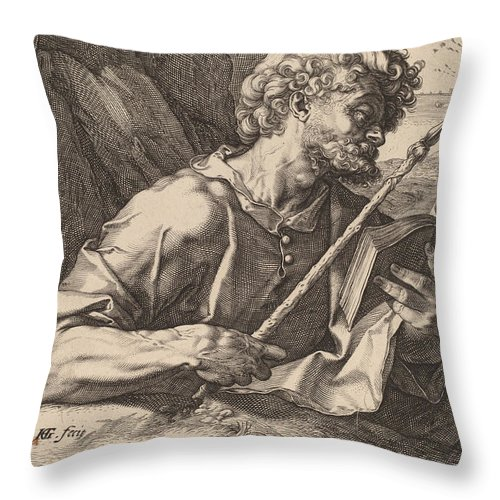 Throw Pillow featuring the drawing Saint Thomas by Hendrik Goltzius