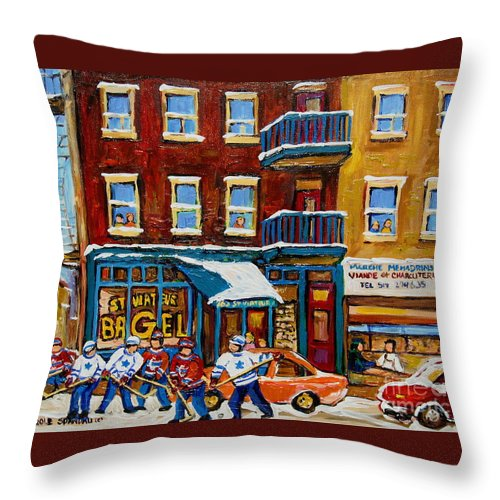 Montreal Throw Pillow featuring the painting Saint Viateur Bagel With Hockey by Carole Spandau