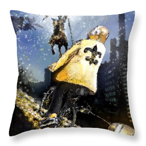 New Orleans Throw Pillow featuring the painting Saints Summit In New Orleans by Miki De Goodaboom