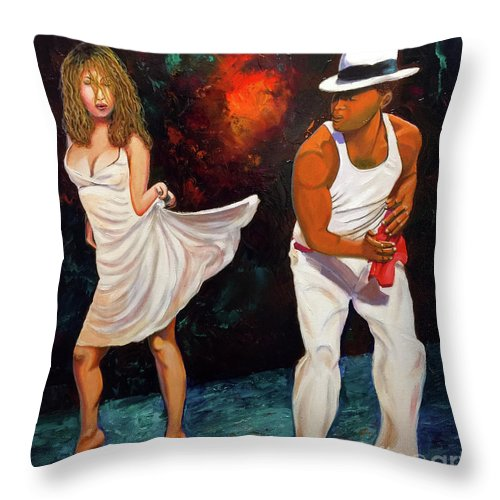 Dancing Cuba Painting Salsa Woman Throw Pillow featuring the painting Salsa 2 by Jose Manuel Abraham