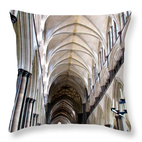 Salisbury Throw Pillow featuring the photograph Salisbury Cathedral by Amanda Barcon