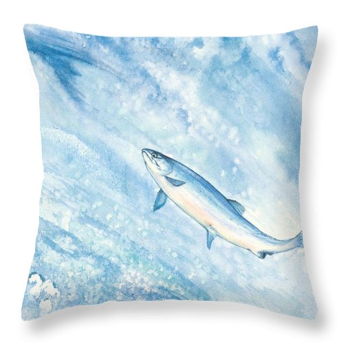 Fish Throw Pillow featuring the painting Salmon by Mary Tuomi