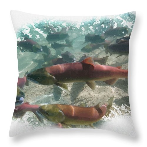 Art & Collectibles Throw Pillow featuring the digital art Salmon Migration by Don Kuing