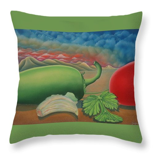 Vegetables Throw Pillow featuring the painting Salsa Across Texas by Jeniffer Stapher-Thomas