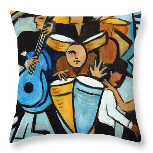 Cubist Salsa Dancers Throw Pillow featuring the painting Salsa Night by Valerie Vescovi