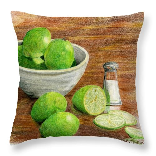 Fruit Throw Pillow featuring the painting Salt And Lime by Mary Tuomi