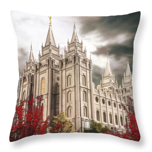 Salt Lake Throw Pillow featuring the painting Salt Lake Temple - A Light in the Storm by Brent Borup