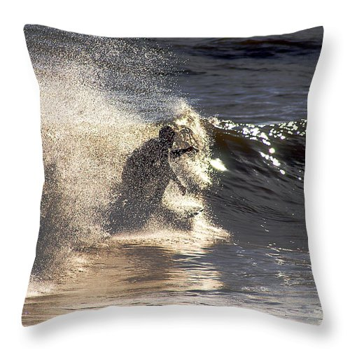 Clay Throw Pillow featuring the photograph Salt Spray Surfing by Clayton Bruster
