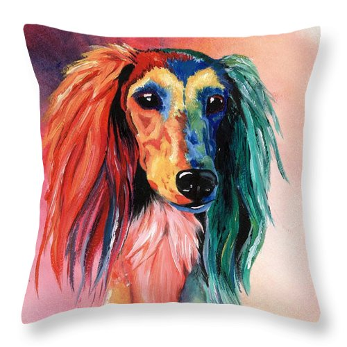 Saluki Throw Pillow featuring the painting Saluki Sunset by Kathleen Sepulveda