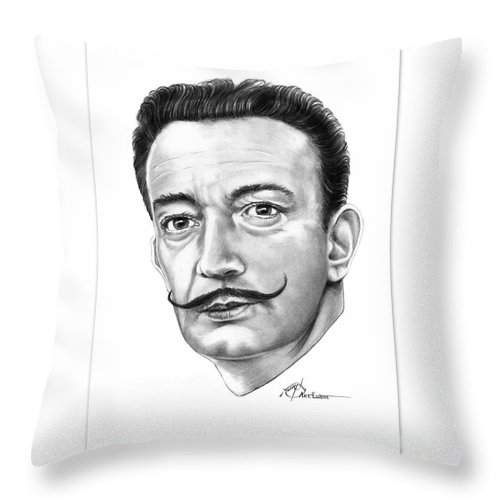 Drawing Throw Pillow featuring the drawing Salvador Dali by Murphy Elliott