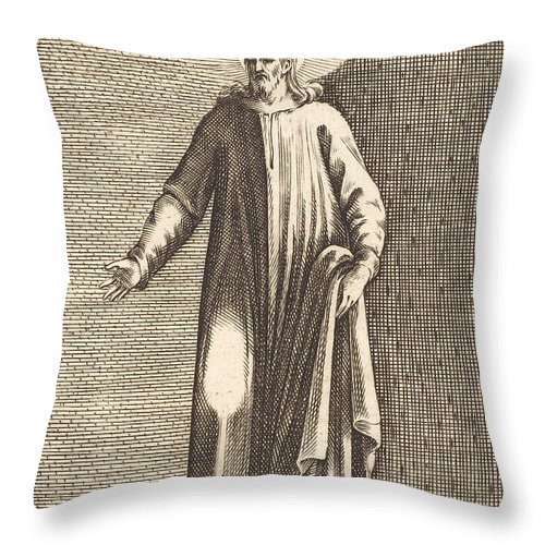 Throw Pillow featuring the drawing Salvator Mundi by Jacques Callot