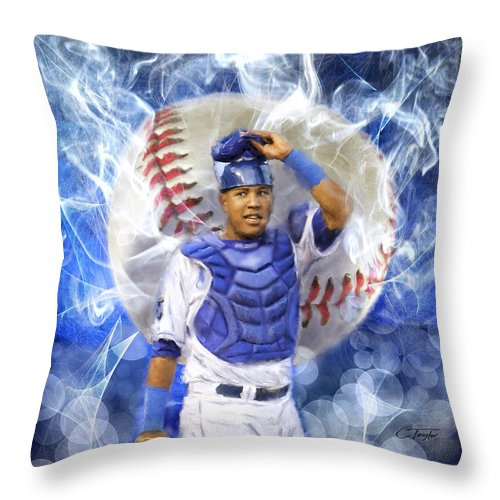 Salvie Throw Pillow featuring the painting Salvy The Mvp by Colleen Taylor