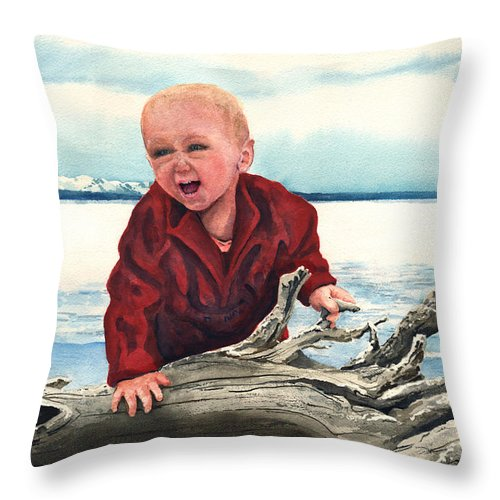 Child Throw Pillow featuring the painting Sam And The Log by Sam Sidders