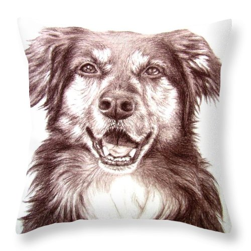 Dog Throw Pillow featuring the drawing Sam by Nicole Zeug