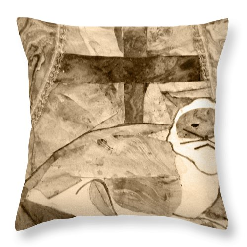 Abstract Throw Pillow featuring the mixed media Samantha by April Patterson