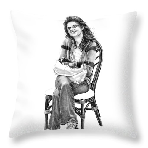 Figure Drawing Throw Pillow featuring the drawing Samantha Jonice Elliott by Murphy Elliott